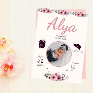 affiche naissance florale