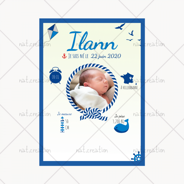 affiche naissance marin